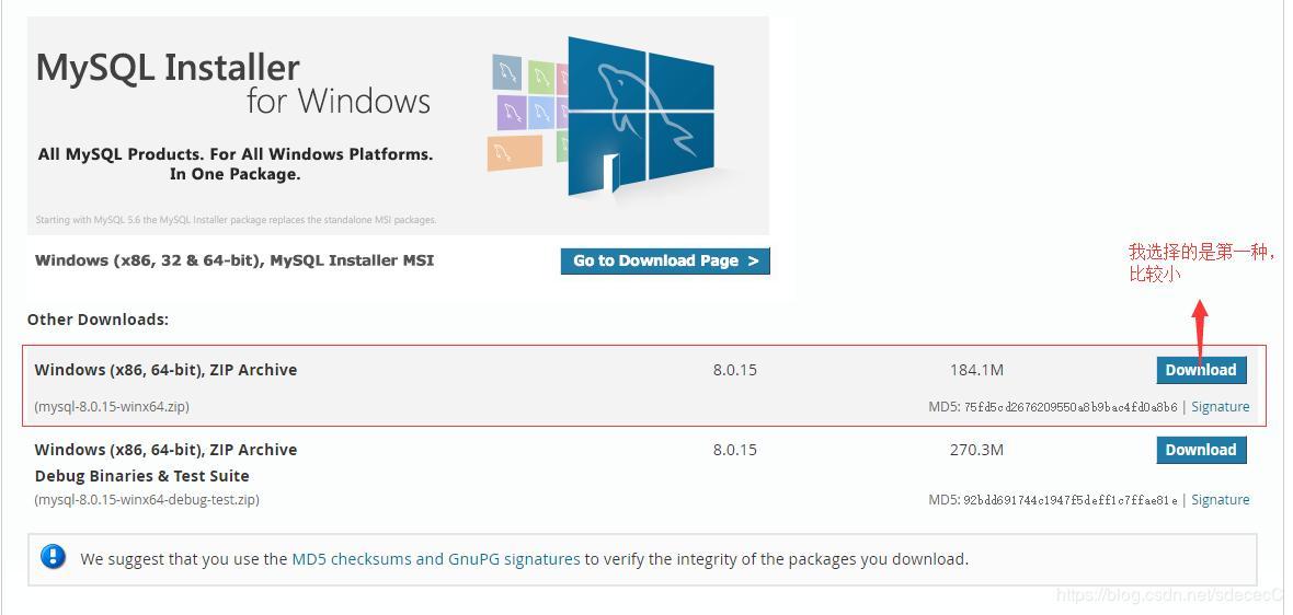 Windows installation mysql8 0 15 compression package detailed