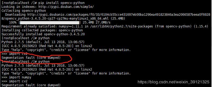 When installing opencv-python under Linux, a Segmentation fault