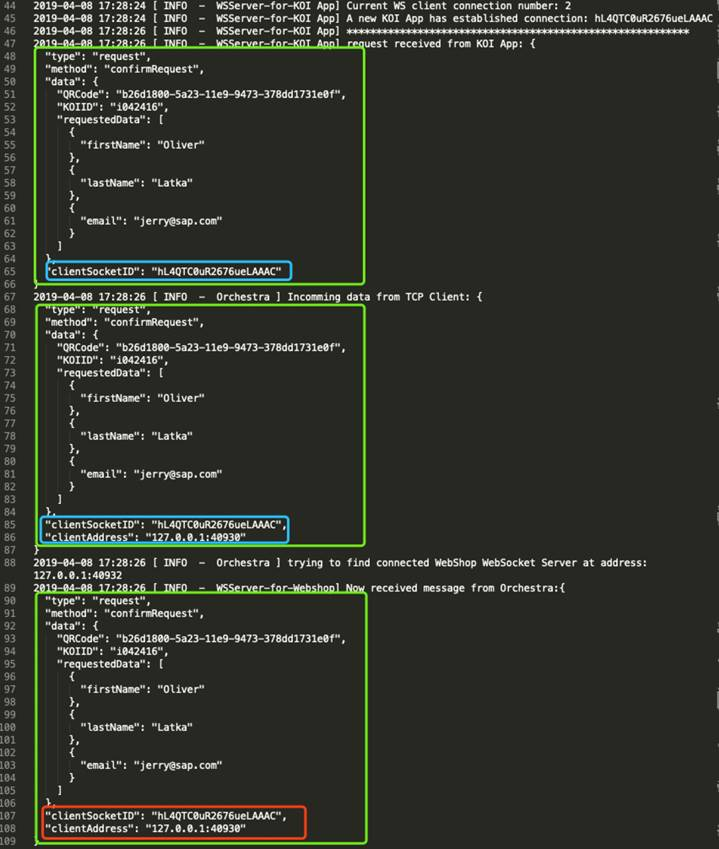 Analyze the server and client interaction of the WebSocket