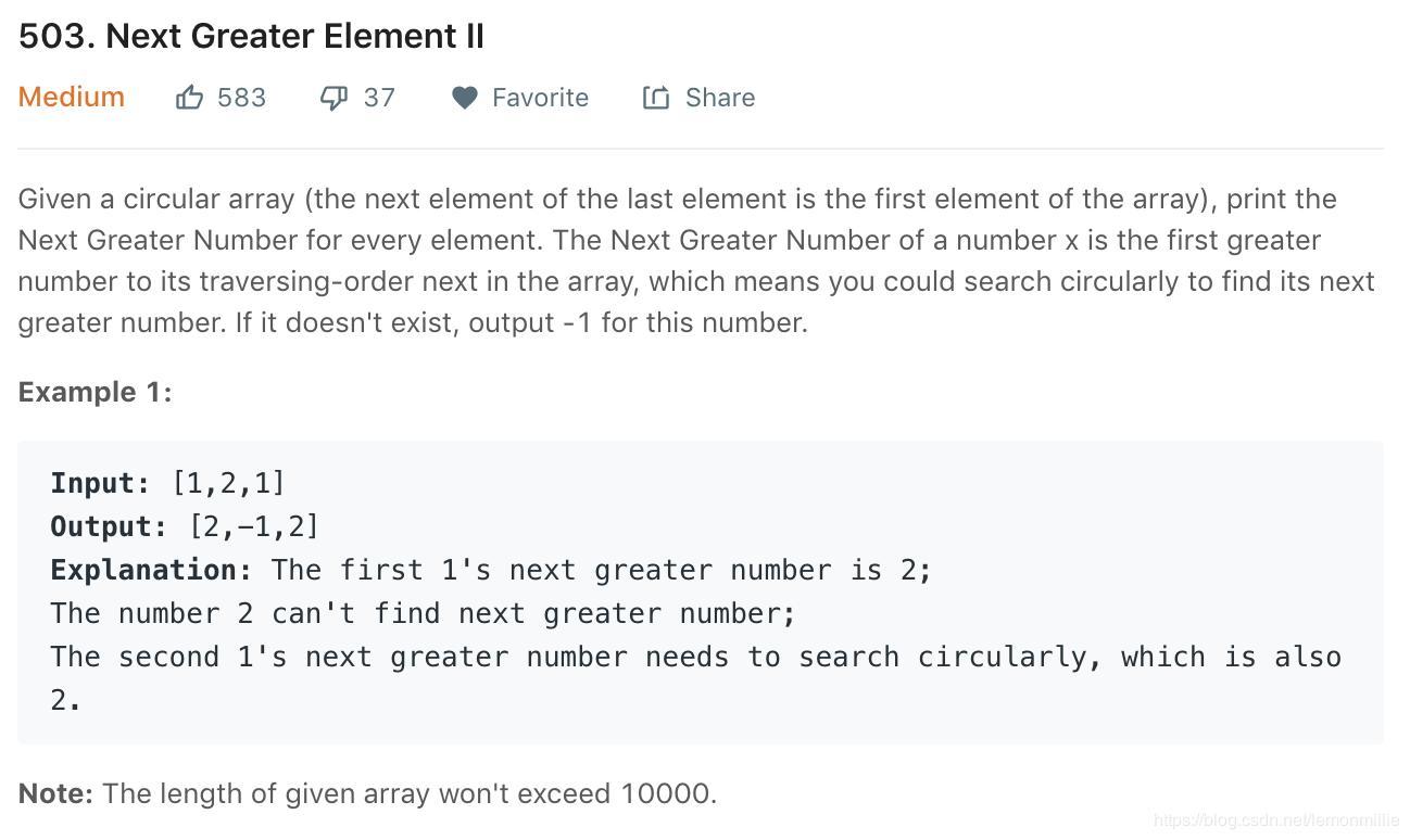 Leetcode] 503  Next Greater Element II 503  Next Larger