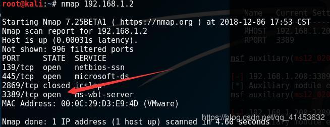 Utilization of MS12-020 vulnerability (death blue screen