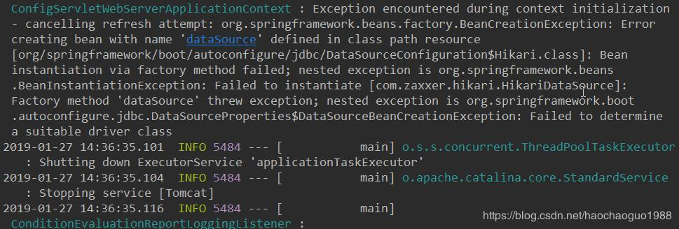 Spring boot project starts reporting DataSource error