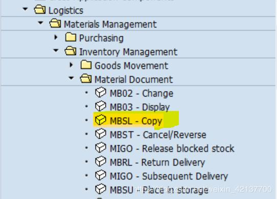 SAP MM is not commonly used transaction code MBSL - Copy Material