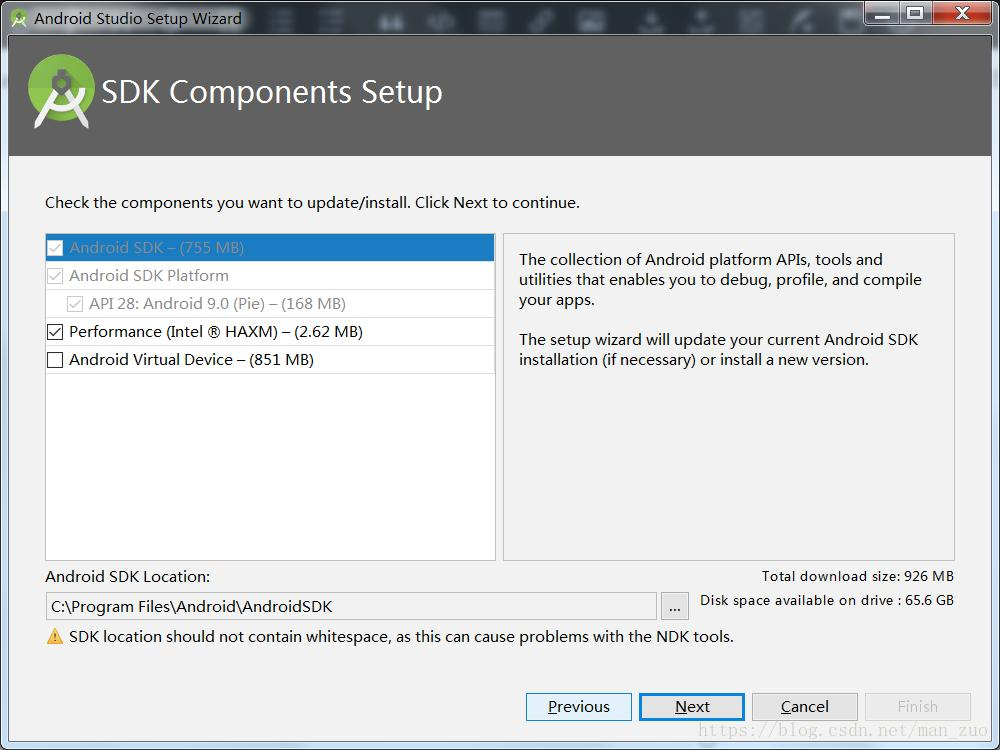 SDK location should not contain whitespace, as this can cause