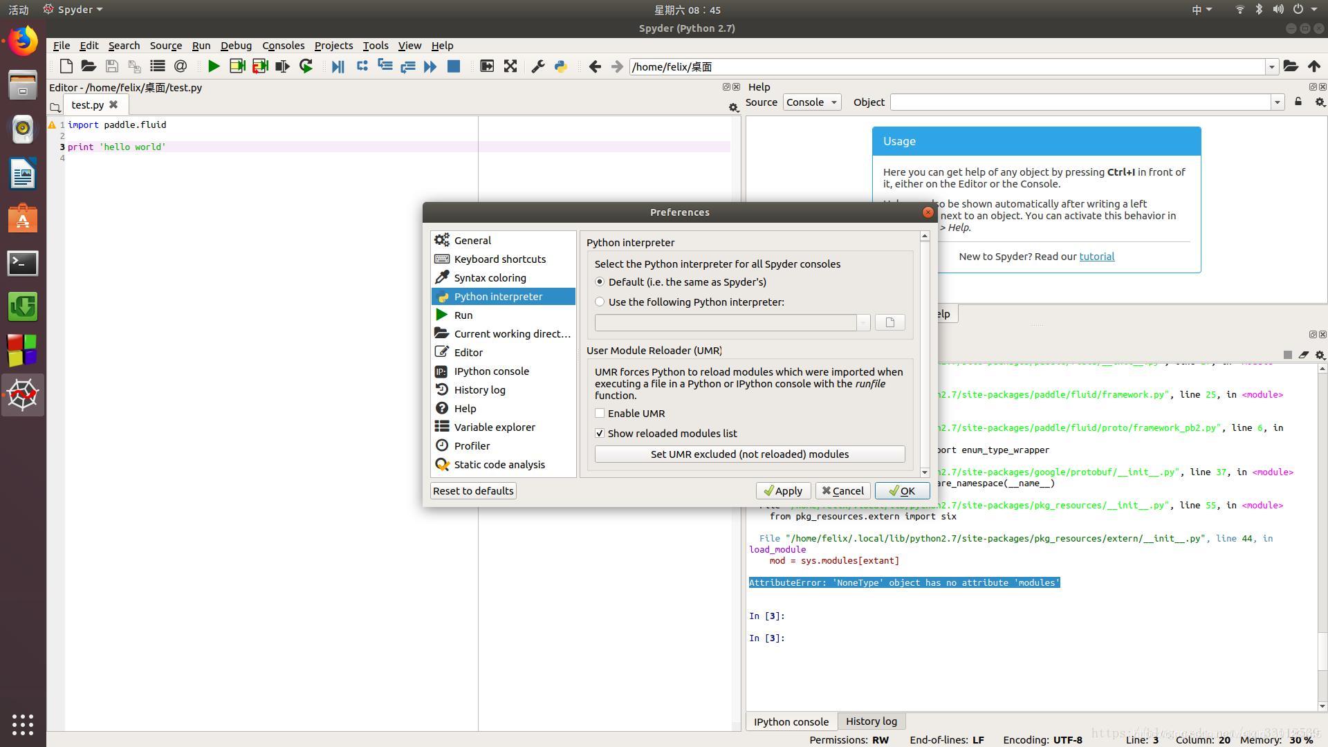 Spyder runs Reloaded modules: **AttributeError: 'NoneType' object